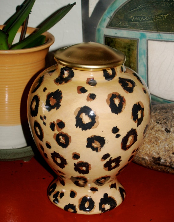 Custom large LEOPARD PET URN for dogs and cats all sizes  made to order personallized