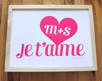 Je t'aime wedding print with heart and initials, CUSTOM, 8x10