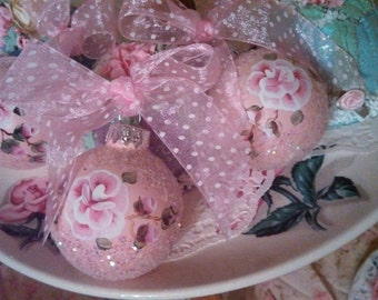 Hand painted pink shabby cottage chic Victorian Christmas ornaments Set of 3 HP rose glitter sparkle pink christmas