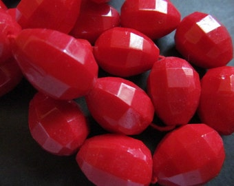 Vintage Glass Beads (2) Red Faceted Teardrop Beads