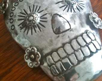 Set of Large skull pendant with small earrings, day of the dead.