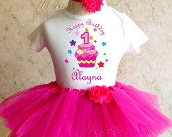 Rainbow Stars Cupcake 1st 2nd Birthday Personalized Custom Name Age Shirt Pink Tutu Set outfit girl 9 12 18 24 months headband baby toddler