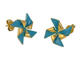 Pick Your Pinwheel Gold Stud Earrings // Gold Plated Origami Windmill on Gold Ear Posts // Choose Your Accent Color