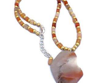 Red-Orange Agate Gemstone Pendant