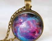 Nebula space necklace, nebula space pendant , nebula  space universe pendant with gift bag