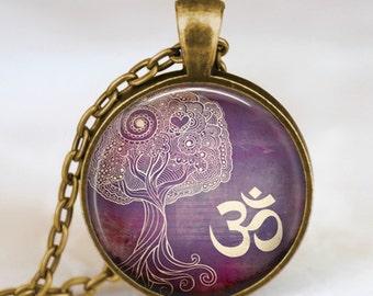 Om Pendant Necklace,Om symbol, Yoga pendant  Spiritual Necklace Inspirational Purple Meditation Pendant  Zen jewelry