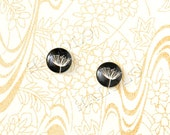 Sale - 10pcs handmade parsley against black round glass dome cabochons 12mm (12-0058)