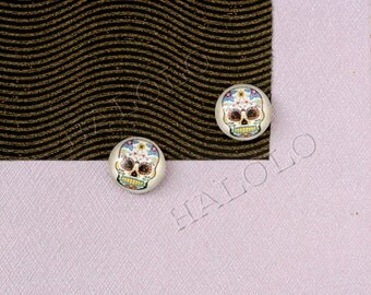 Sale - 10pcs handmade skull clear glass dome cabochons 12mm (12-9552)