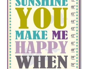 Children's Growth Chart - Nursery Art -You Are My Sunshine Purple Growth Chart