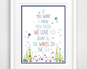 Children's Wall Art / Nursery Decor If you want to know how much WE love you...Red White and Blue Colors