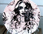 ceramic plate wall plate face long hair rocky texture cream and black funky home decor