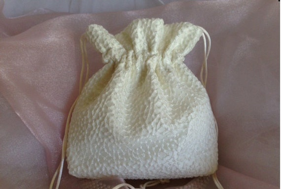 WEDDING BRIDAL IVORY Drawstring Bag w/Wedding Dot Organza