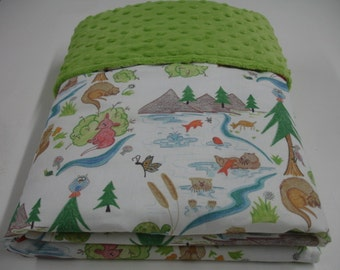 Otterly Fun Minky Blanket You Choose Size MADE TO ORDER