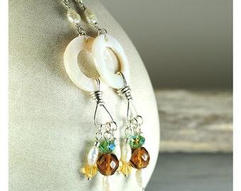 Shell earrings   crystal earrings   Beach boho