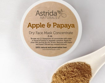 Exfoliating Apple and Papaya Clay Face Mask Concentrate, Natural Face Mask with Botanical Extracts