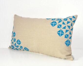 Geometric pillow, Beige and emerald, Origami pillow, Natural beige pillow, Dorm room decor, Triangles design, Spring decor, Modern farmhouse
