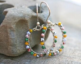 SALE, Hoop Earrings, Multi Colored Yellow, Green and Red Seed Beaded Sterling Silver Wire Wrapped Medium Sized Hoop Handmade Earrings