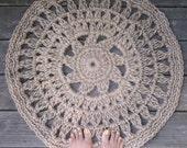 """Round Jute Cord Crochet Rug Flower Center 28"""""""