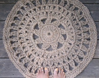 Round Jute Cord Crochet Rug Flower Center 28""