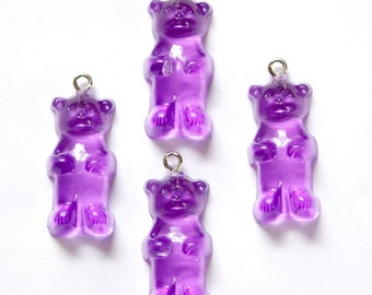 Grape Purple Gummi Bear Charms Drops (4) chr152M