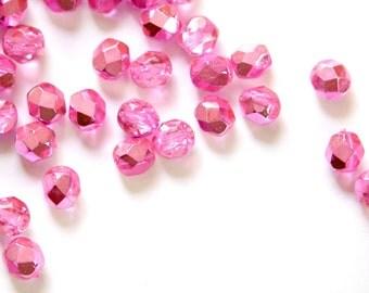 Czech Half Crystal Half Hot Pink Faceted Glass Beads 6mm (25) czh024C