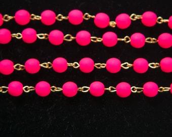 Neon Pink Czech Glass Bead Chain Raw Brass Links 6mm chn162