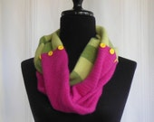Infinity Cashmere Wool Scarf made from upcycled pink and green sweaters - FoxIslandFancywork