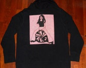 Meg white applique back Black Ladies XL old navy hoodie with built-in earbuds