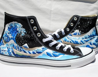 Hand Painted Converse Shoes - The Great Wave Off Kanagawa -Black