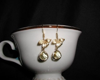 Yellow Citrine Gold Plated Dangle Blossom Earrings