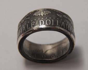 Silver coin ring Kennedy Patriot Ring You Choose Size  Date 1964 very nice gift for the Patriot in your life
