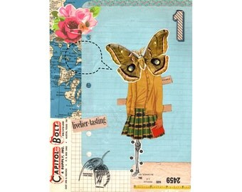 Butterfly Girl // Collage Art Print
