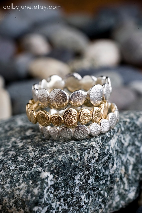 Silver Large Pebble Ring | Stacking Ring | Nature Inspired Ring