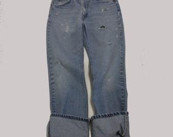 31 Raw Destroyed Vintage Levi Boyfriend  jeans 31 waist denim jeans