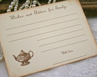 Wishes and Advice Cards Tea Party Set of 10 Birthday Bridal Shower Vintage Teapot Wish Cards