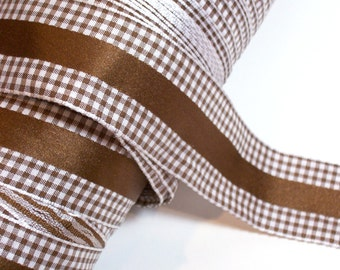 Brown Ribbon, Brown Stripe Gingham Check Polyester Ribbon 1 1/2 inches wide x 5 yards