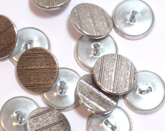Silver Buttons, Vintage Silvertone Metal Buttons 3/4 inch(19 mm) diameter x 20 pieces Shank Back, Fine Lines