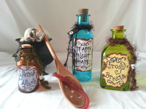 Last NIGHTMARE before Christmas Sally POTION POISON bottles and spoon Halloween props