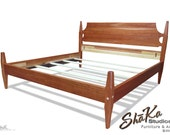 Cherry Bed | King Low Post Bed | Natural Aged Cherry Stain | Shaker Furniture | Ready to Ship