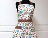 Womens Retro Full Apron, Handmade Flair for Cooking Cute Kitchen Aprons - Ready to Ship