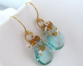 Aqua Quartz Earrings, Aqua Blue Earrings, Pearl Earrings, Aquamarine Earrings, Citrine Earrings