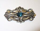 Brooch - London Blue Topaz in Solid Sterling Silver