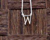 Sterling Silver Wire Wrapped Initial Pendant and Necklace - Letter W