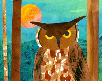 Collage Art Print, Night Owl - 8 x 10 or 10x13 Owl Print from Original Paper Collage
