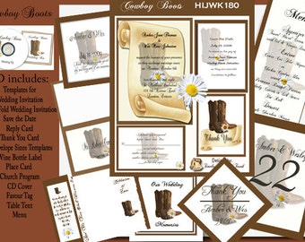 Delux Country Cowboy Boots Wedding Invitation Kit on CD