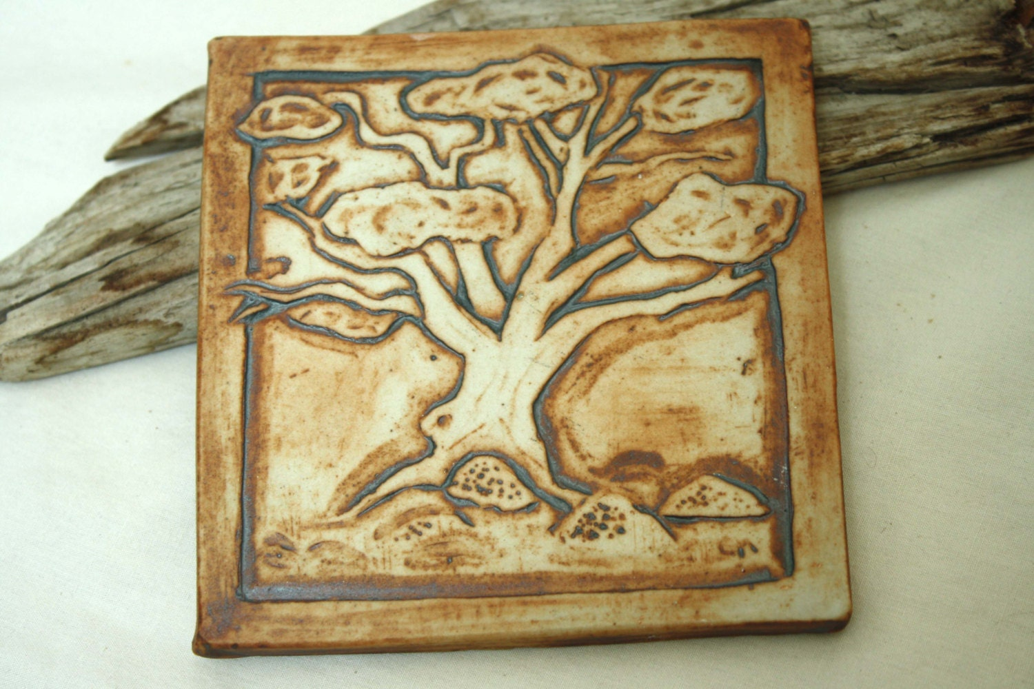 Carved tree tile illusionary relief original by