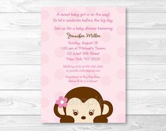 Girl Monkey Baby Shower Invitation / Pink Monkey Baby Shower Invitation / Monkey Baby Shower / Baby Girl Shower / PRINTABLE