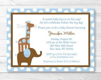 Blue Elephant Giraffe Baby Shower Invitation PRINTABLE