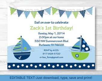 Nautical Sailboat Birthday Invitation INSTANT DOWNLOAD Editable PDF