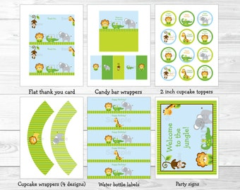 Cute Jungle Animal Birthday Party Package / Jungle Animal Decorations / Safari Animal Decorations / 1st Birthday / INSTANT DOWNLOAD